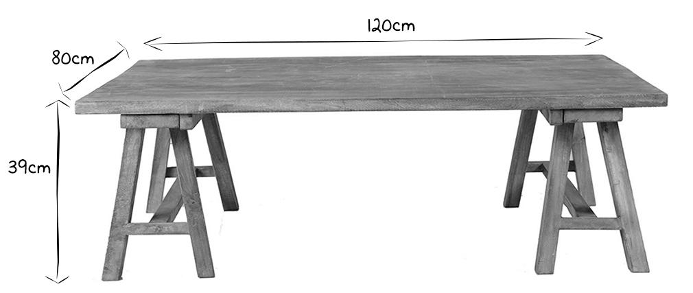 Table basse industrielle en manguier massif ANTIQUA