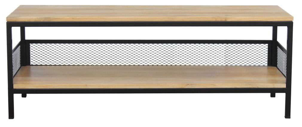 Table basse industrielle manguier massif et métal RACK