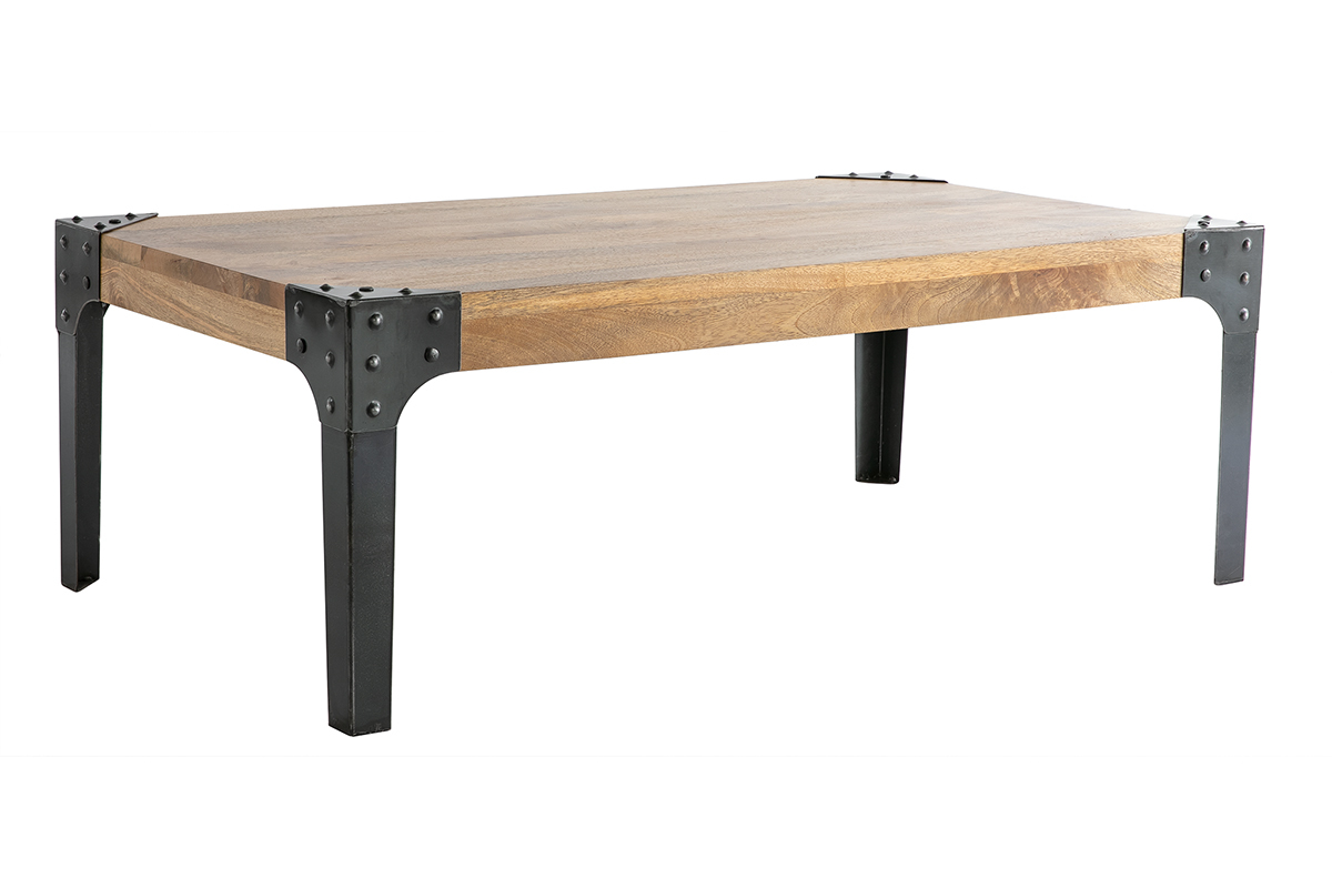 Table basse industrielle m tal et bois madison miliboo for Table basse et haute a la fois