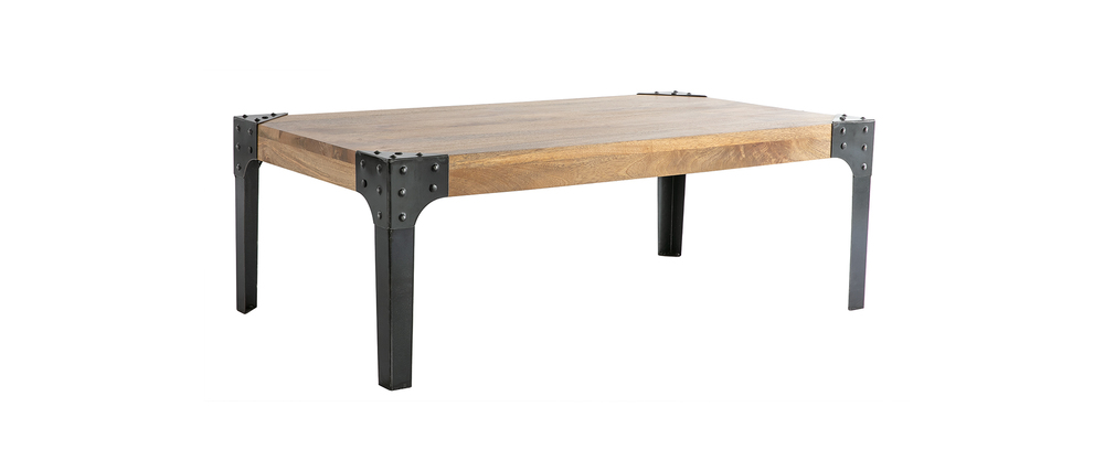Table basse industrielle m tal et bois madison miliboo for Table de salon bois et metal