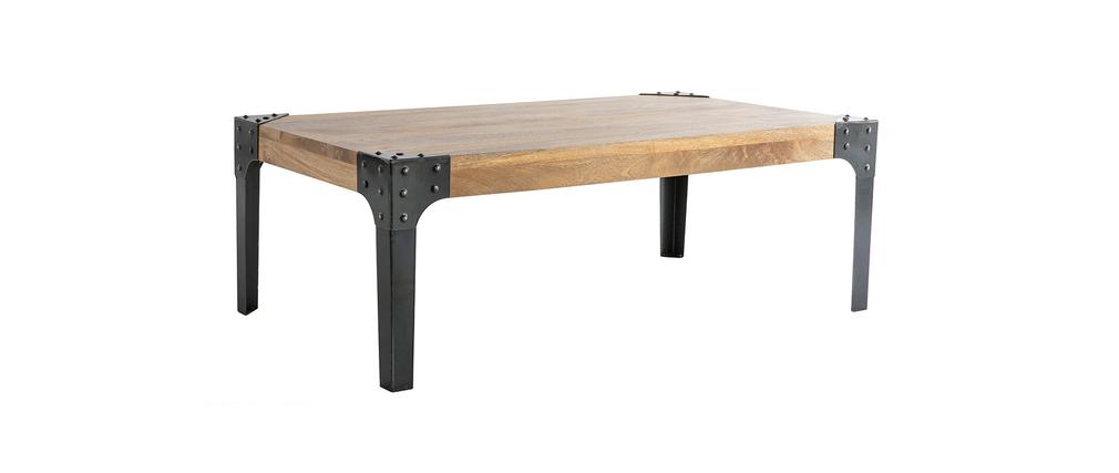 Table basse industrielle m tal et bois madison miliboo - Table a diner bois et metal ...