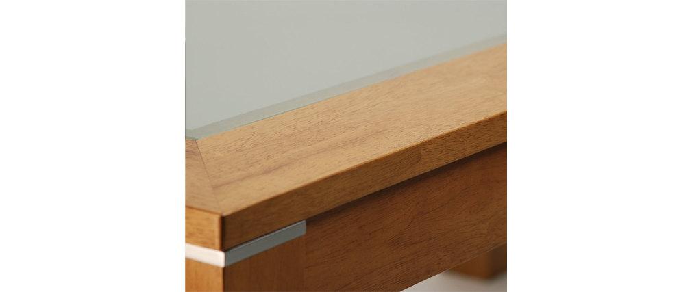 Table basse jerri ch ne clair et verre d poli miliboo - Table basse chene clair ...