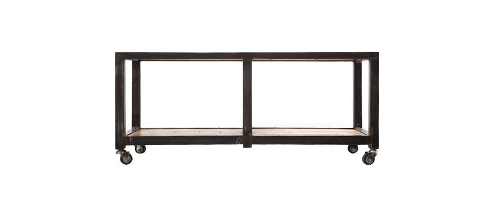Table basse / meuble TV manguier massif et métal industriel ATELIER ROLL