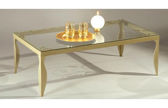 Table basse moderne en verre et acier laqu zoom for Table basse en verre et acier