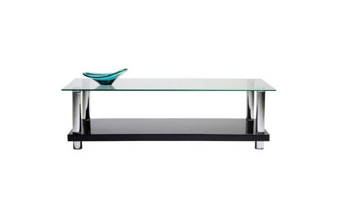 Table basse moderne noire laqu e en verre tremp new telma - Table salon verre trempe ...
