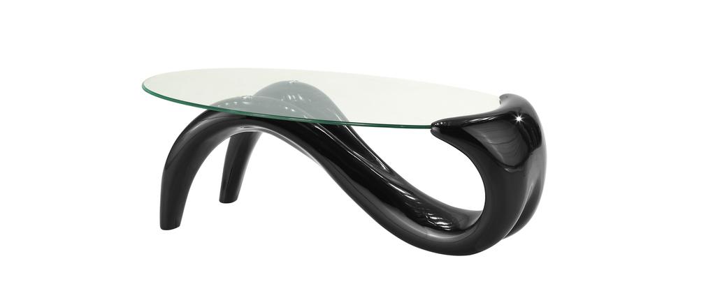 Table basse moderne noire plateau en verre tremp meryl miliboo - Plateau verre trempe ...