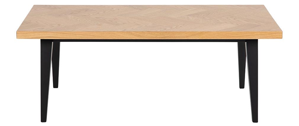 Table basse motif chevron finition chêne et pieds noirs TRAVIS