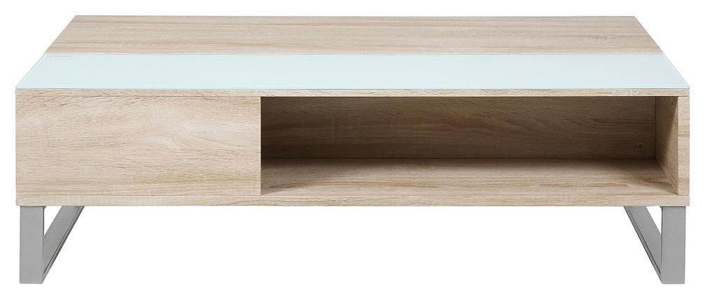 Table basse relevable bois clair et verre fumé blanc WYNN