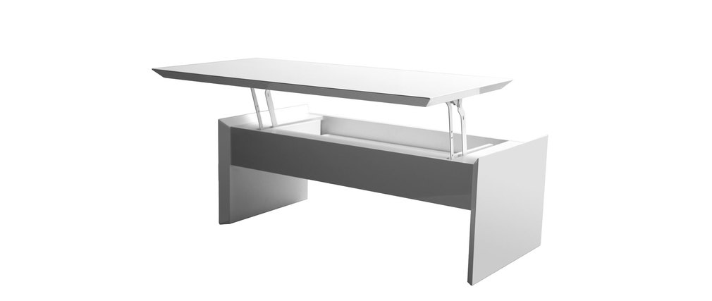 Table basse relevable design blanc brillant laeti miliboo - Table relevable design ...