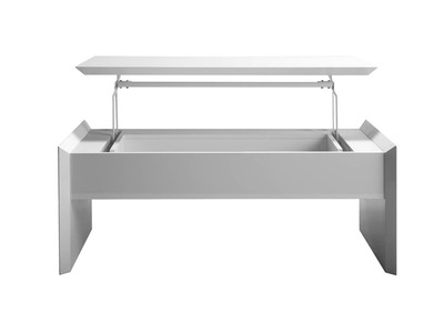Table basse relevable design blanc brillant LAETI