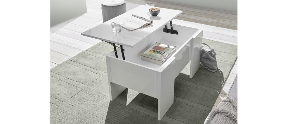 Table basse relevable design blanc laqué brillant L92 cm COMO