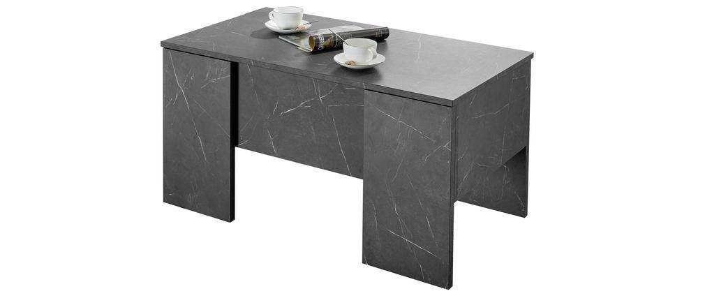 Table basse relevable design effet marbre noir L92 cm CARRA