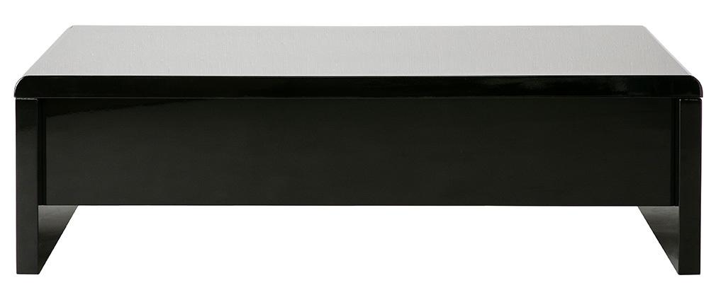 Table basse relevable design noire avec rangement LOLA