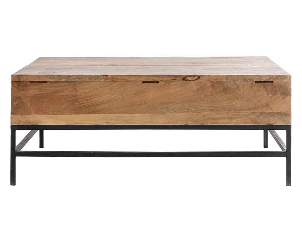 Table basse relevable industrielle manguier massif et métal L7