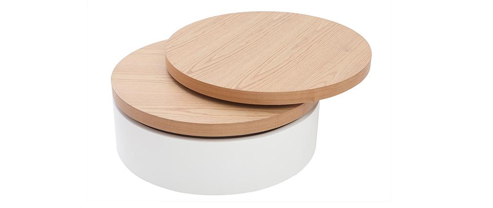 Table basse ronde avec plateaux pivotants et rangement blanc et bois ICON