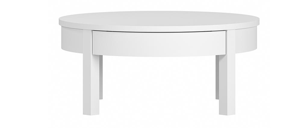 Table basse ronde blanche avec tiroir D80 cm EOLE
