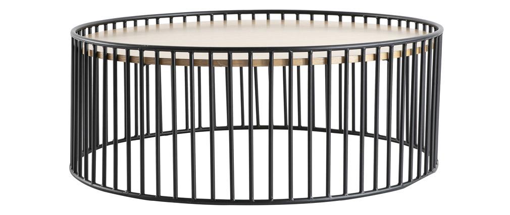 Table basse ronde bois clair et métal D93 x H35 cm HARP