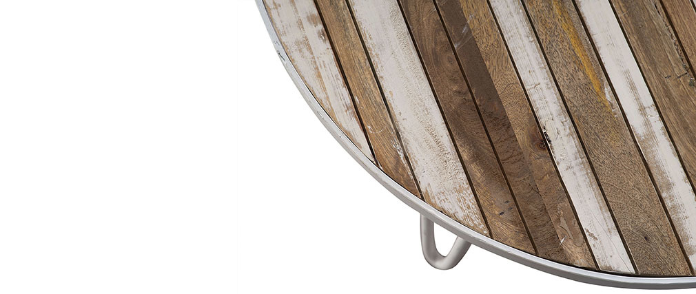 Table basse ronde bois et métal blanc 80x45 ROCHELLE