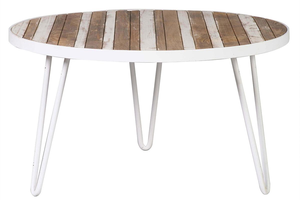 Table Basse Ronde Bois Et Métal Blanc 80x45 Rochelle Miliboo