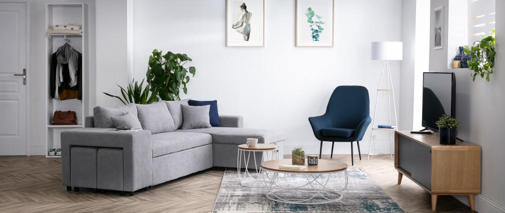 Table basse ronde bois et métal blanc D80 x H30 cm LACE - Miliboo & Stéphane Plaza