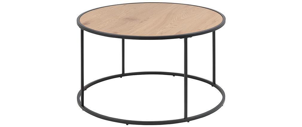 Table basse ronde bois et métal noir D80 cm TRESCA