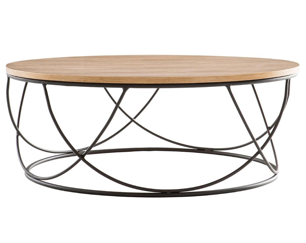 Table Basse Ronde Bois Et Metal Noir D80 X H30 Cm Lace Miliboo