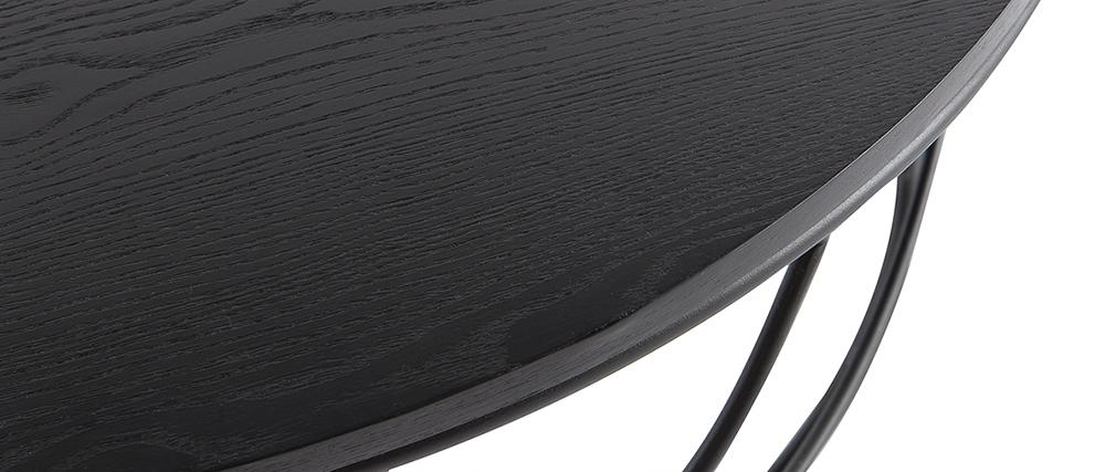 Table basse ronde bois noir et métal noir D80 x H30 cm LACE