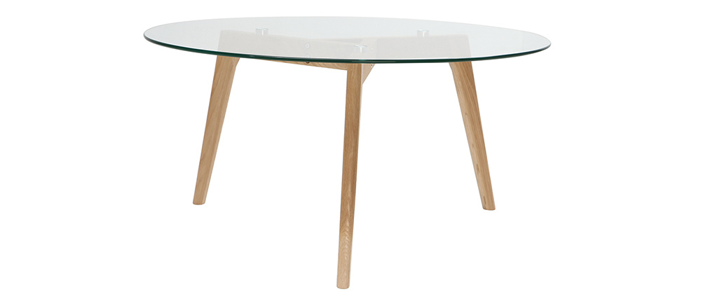 Table basse ronde design contemporain verre et bois DAVOS