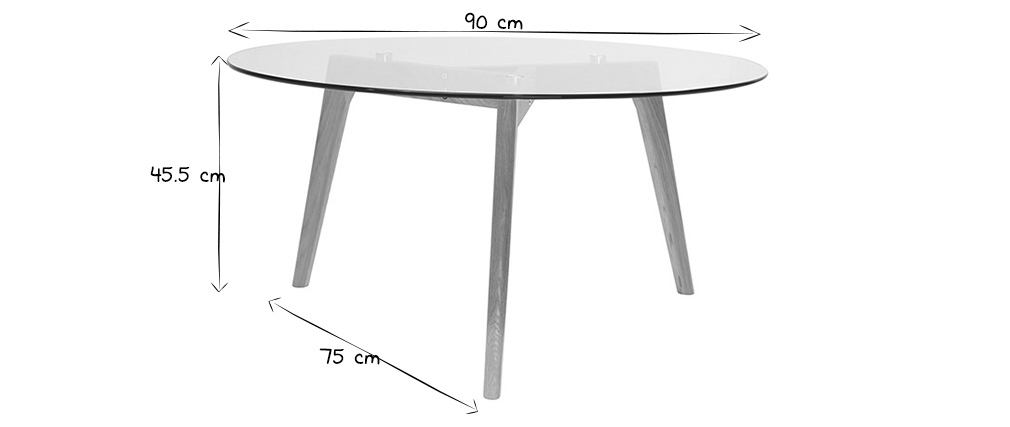 Table Basse Ronde Design Contemporain Verre Et Bois Davos Miliboo