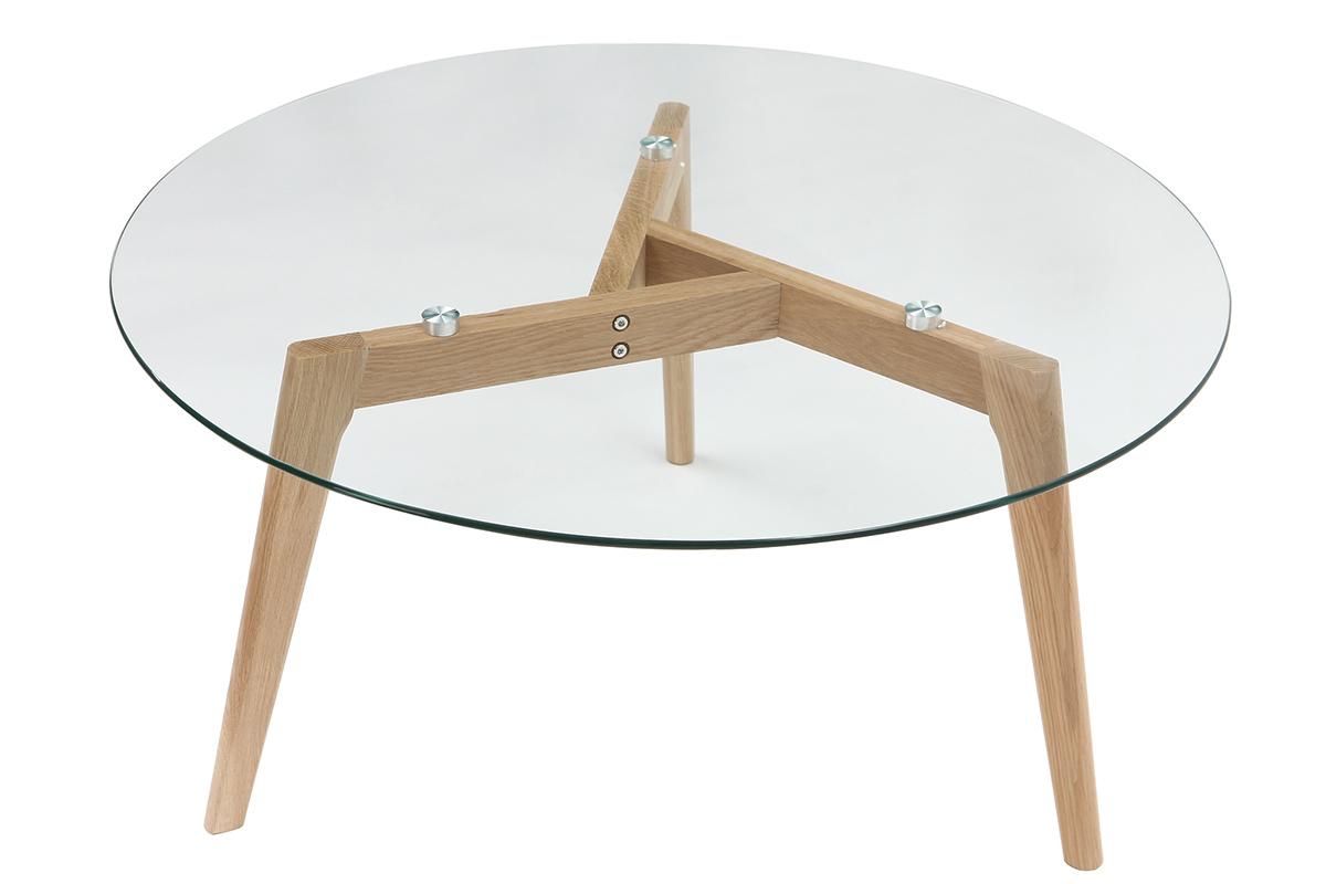 Table Basse Ronde Design Contemporain Verre Et Bois Davos