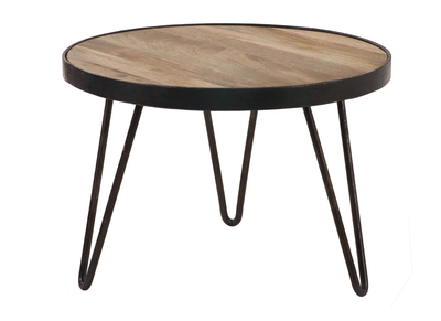 Table basse ronde design industriel 50x35cm ATELIER