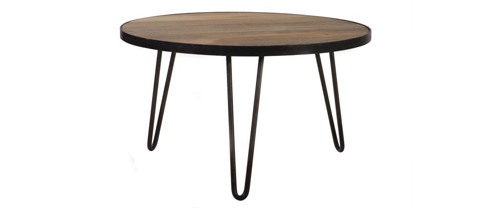 Table basse ronde design industriel 80x45 cm ATELIER