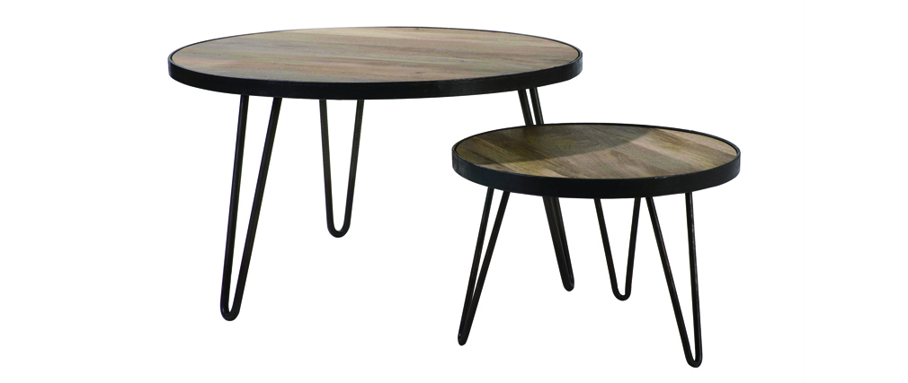 table basse ronde design industriel 80x45cm atelier miliboo. Black Bedroom Furniture Sets. Home Design Ideas