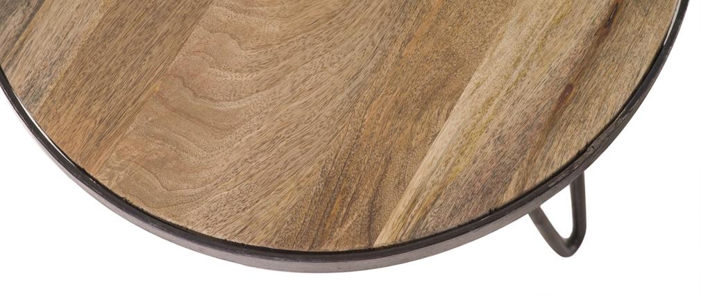 Table basse ronde design industriel D50 x H35 cm ATELIER