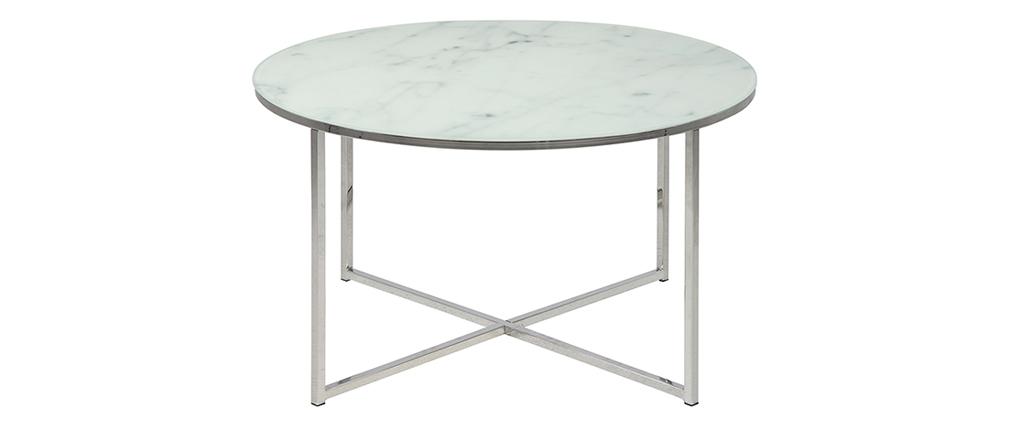 table basse ronde effet marbre blanc et pieds en m tal 80. Black Bedroom Furniture Sets. Home Design Ideas