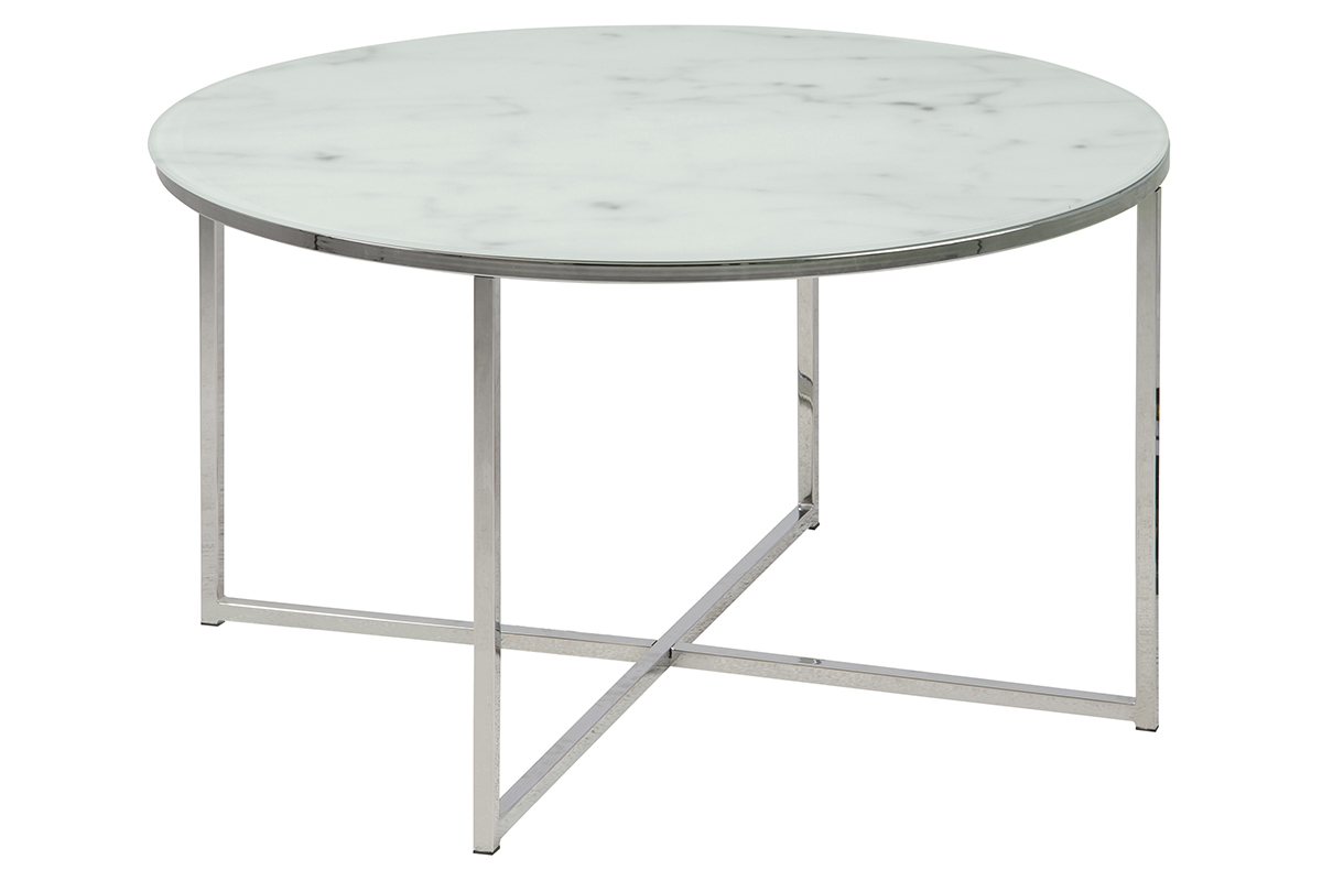 Table basse ronde effet marbre blanc et pieds en métal 80 cm ...