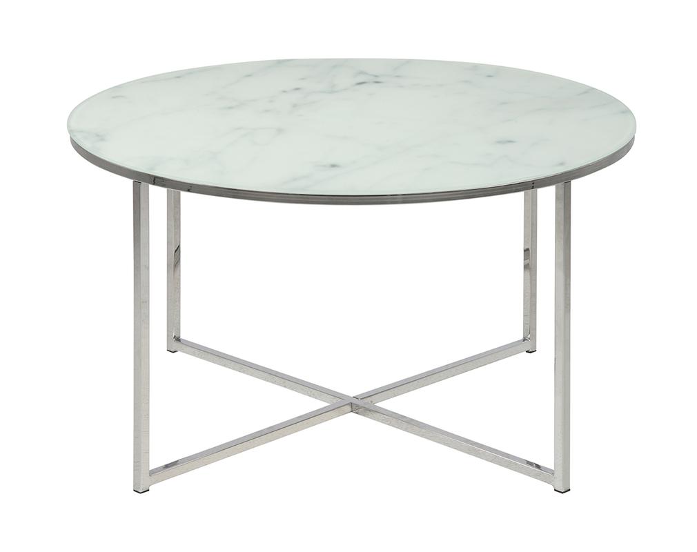 Table Basse Ronde Effet Marbre Blanc Et Pieds En Metal D80 Cm Alcino Miliboo