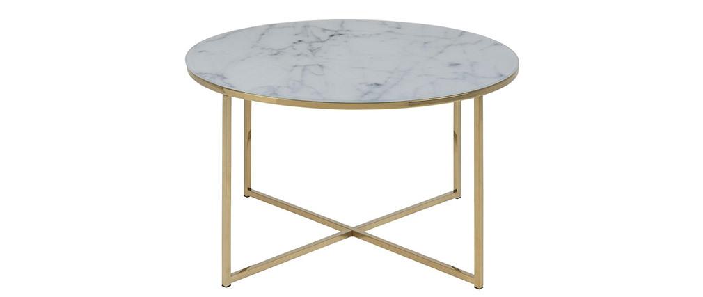 Table basse ronde effet marbre et pieds métal D80 SILAS