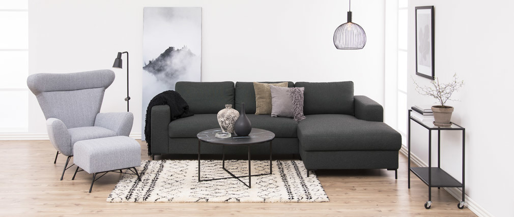 Table basse ronde effet marbre noir pieds métal ALCINO