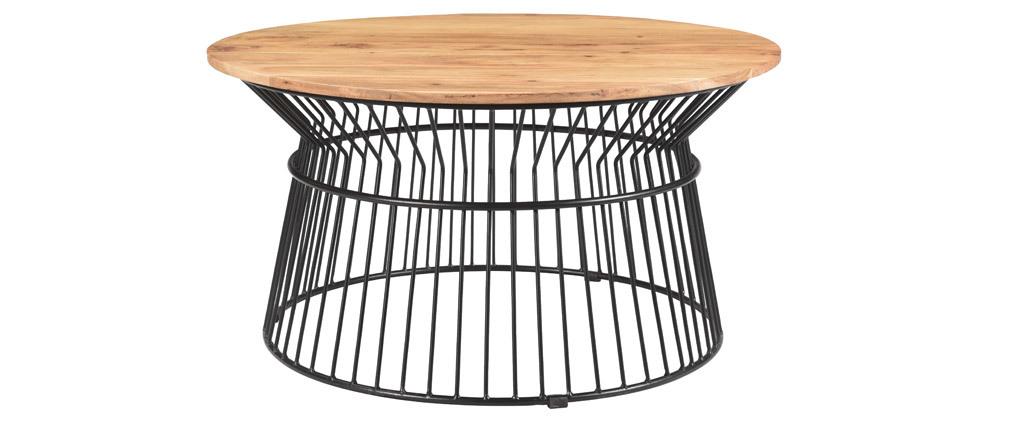Table basse ronde en acacia et métal SPIRIT