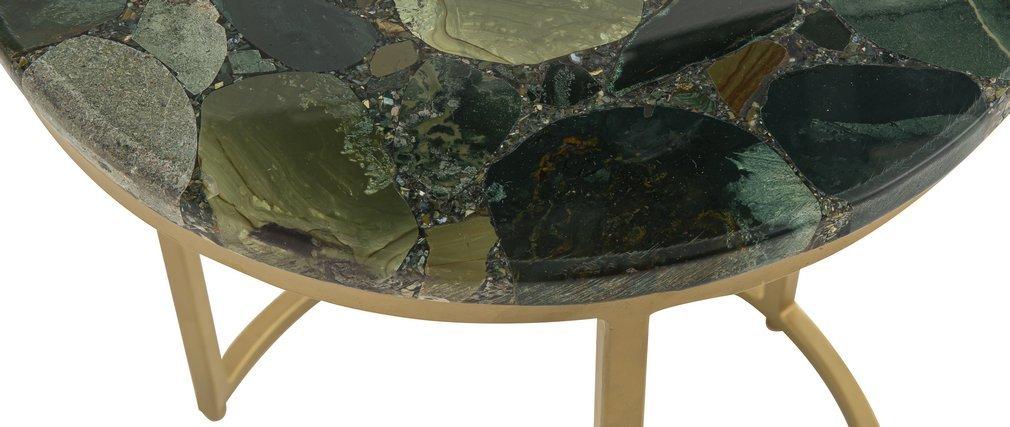 Table basse ronde en jaspe verte D40 cm PIETRA - Miliboo & Stéphane Plaza