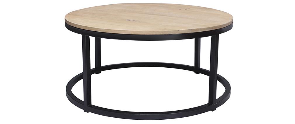 Table basse ronde en manguier massif et métal noir D80 cm FACTORY