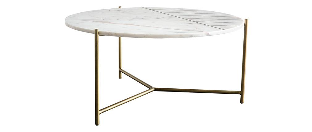 Table basse ronde en marbre blanc SILLON