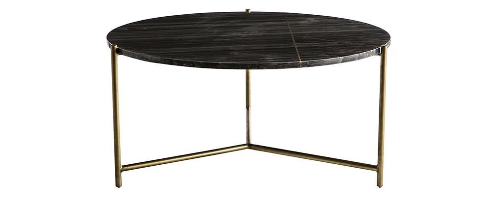 Table basse ronde en marbre noir SILLON