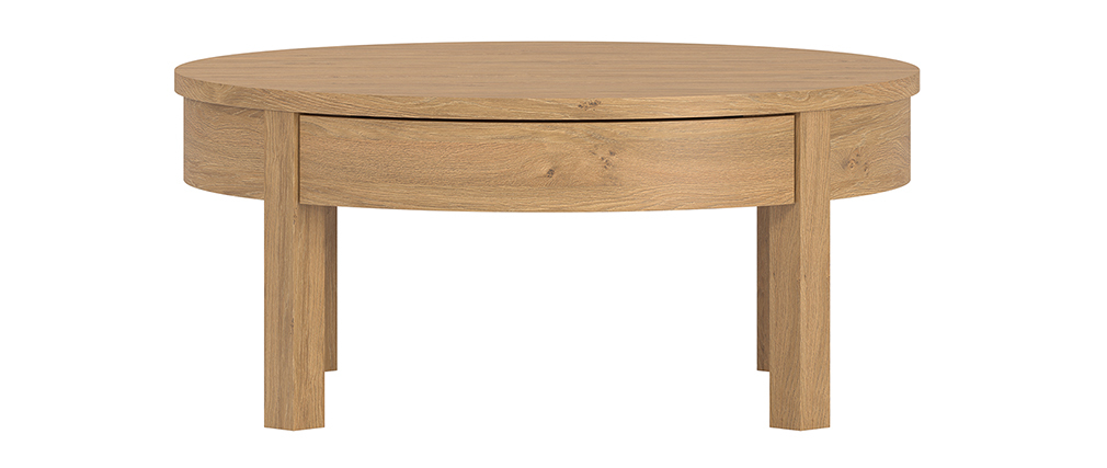 Table basse ronde finition chêne avec tiroir D80 cm EOLE