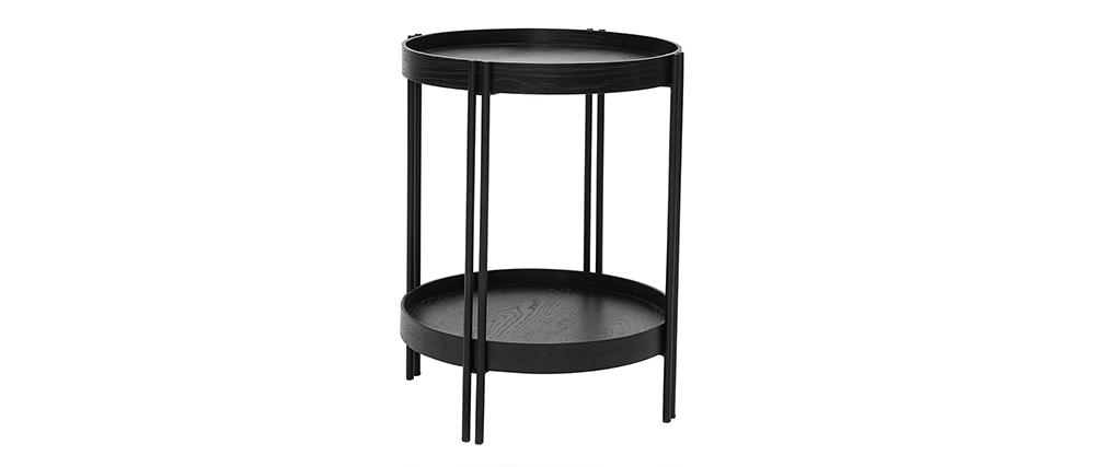 Table basse ronde finition chêne noir et métal D45 cm TWICE
