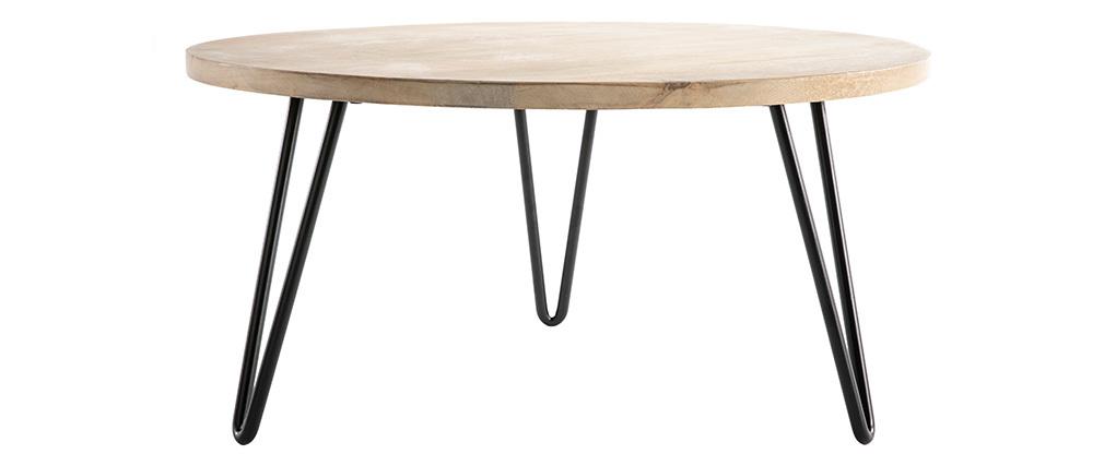 Table basse ronde manguier et métal L80 x H40 cm VIBES