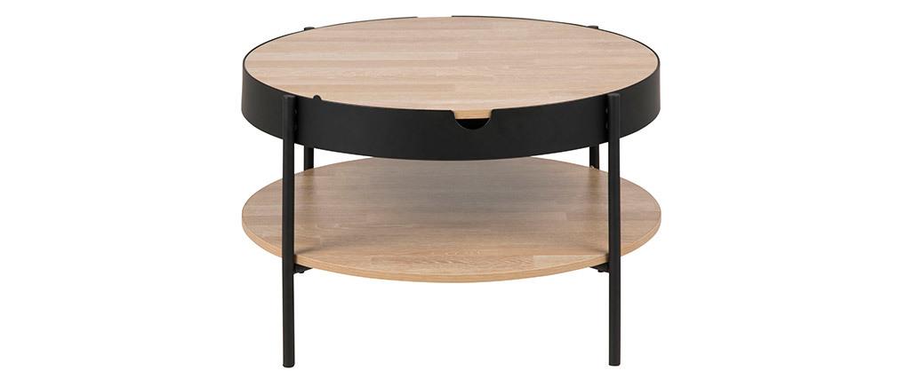 Table basse ronde placage bois et métal noir D75 cm SUZIE