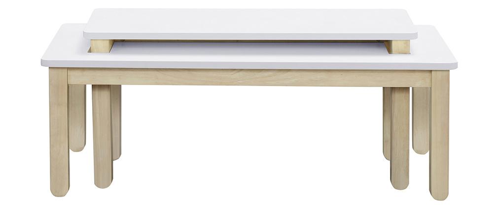 Table basse scandinave avec banc intégré blanc et bois clair CYBEL