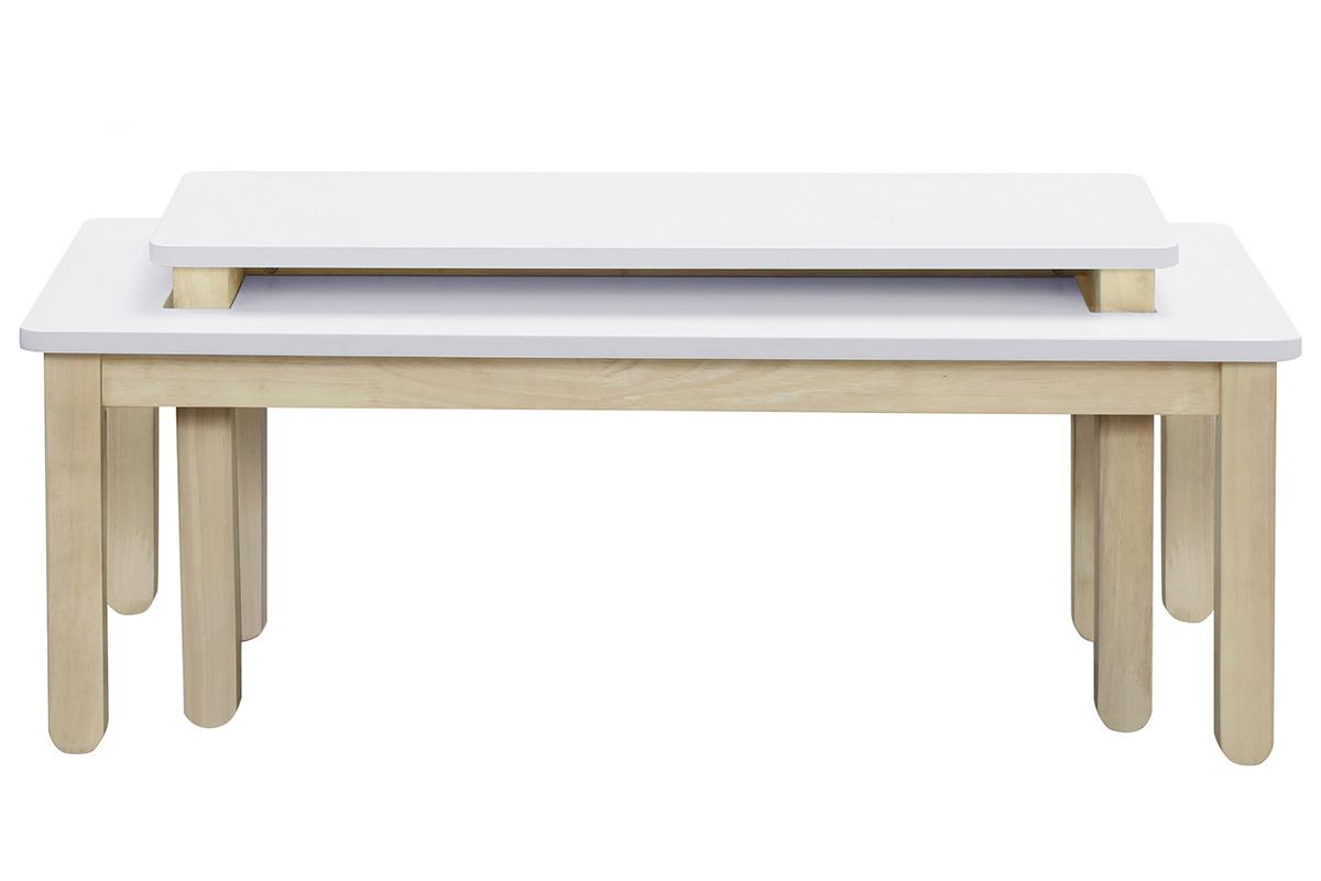 Table basse scandinave avec banc intégré blanc et bois clair ...